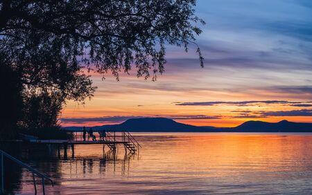 balaton: Colorful sunset at lake Balaton in Hungary
