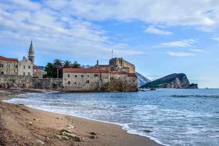 balkan peninsula: Budva beach near old town wall and fortress during winter season in Balkan Peninsula, Montenegro