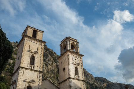 balkan peninsula: Tower with a clock in the old city of Kotor, Montenegro, Balkan peninsula