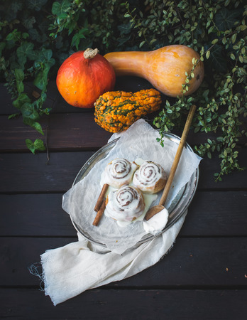 silver tray: Cinnamon pumpkin buns with creamy cheese icing and ripe pumpkins on a silver tray over a dark rough wooden surface with the background of garden plants