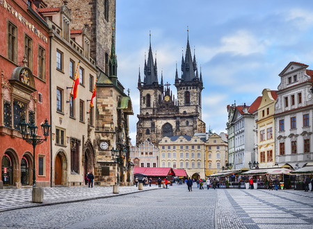 central europe: Prague, Czech Republic, Central Europe, 26.12.2014. The view over Staromestska square, the Orloj and Tyn temple on a cloudy winter day