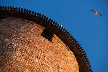 novgorod: Anceint red brick Kremlin tower, view from the bottom, Nizhniy Novgorod,  Russia Stock Photo