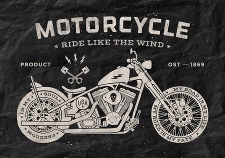 jinete: Motocicleta de carreras del vintage del estilo de la vieja escuela. Blanco y negro impresión de carteles para la camiseta. Ilustración del vector.