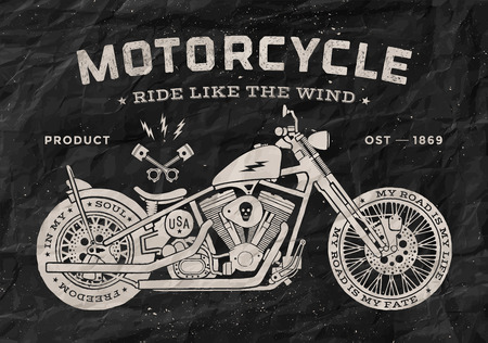 vintage cars: Vintage race motorcycle old school style. Black and white poster, print for t-shirt. Vector illustration.