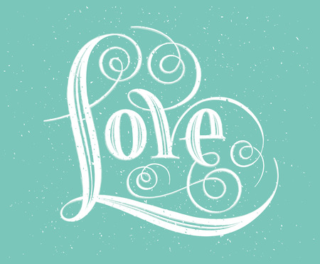 i label: Love. Hand lettering. Handmade calligraphy on turquoise background Illustration