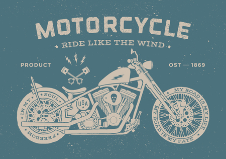 Vintage race motorcycle old school style. Poster and print for t-shirt. Vector illustration Иллюстрация