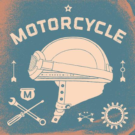bandera carreras: Cartel del casco de la motocicleta de carreras del vintage. establece la vieja escuela retro. Ilustración del vector Vectores