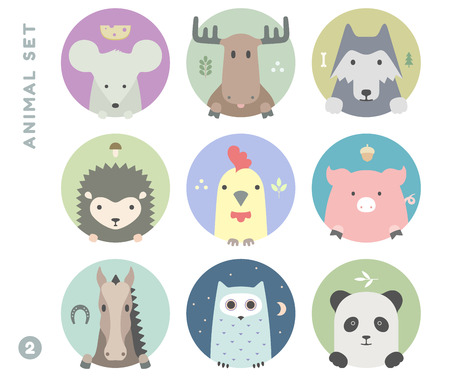 Animal set of colorful portrait in flat graphics. Vector Illustration