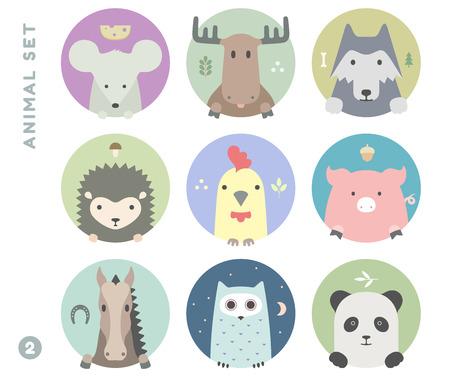 Animal set van kleurrijke portret in flat graphics. vector Illustration Stock Illustratie