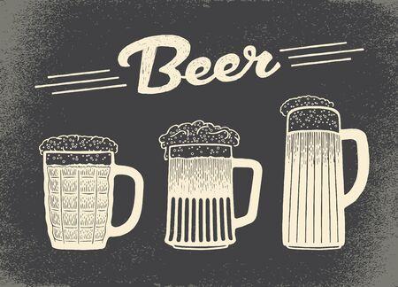 wiesn: Beer set. Vintage sketch and old paper texture. Vector illustration