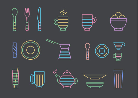 dinnerware: Food and dinnerware set of icons in line vector graphics. Spoon, fork, knife, cup, plate, glass, cezve, teapot hot beverage and ice-cream Illustration