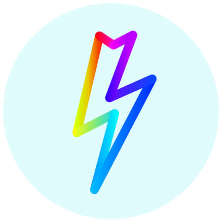 lightning: Lightning colorful icon in circle.
