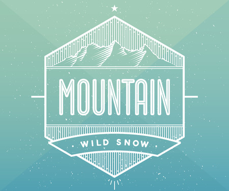 snow mountain: Badge for creative design project. Label related to mountain theme. Illustration