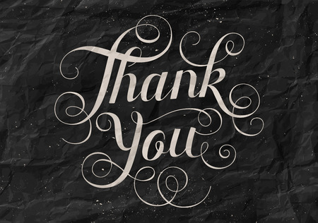 te negro: Hand lettering Thank You black paper background. Calligraphy for Thanksgiving Day. Vectores