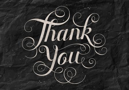 te negro: letras de la mano le agradece fondo de papel negro. Caligrafía para el Día de Acción de Gracias.