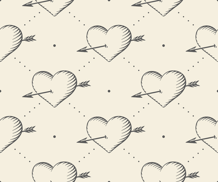 i love you heart: Old ribbon with message I love you, heart and arrow in vintage style engraving on a beige background. Greeting card for Valentines Day. Hand drawn. Vector illustration