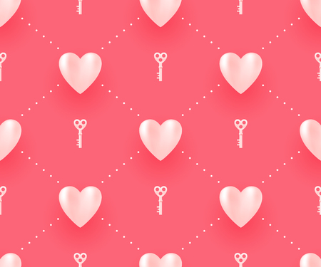 Seamless pattern with white hearts and keys on a red background for Valentine's Day. Vector Illustration