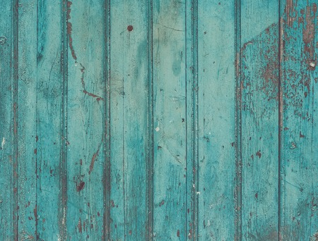 Old painted cracky blue turquoise wooden texture. Vintage rustic style. Natural surface, background and wallpaper Banco de Imagens