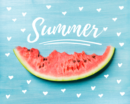 Summer concept illustration. Slice of watermelon on turquoise blue background, top view. White lettering inscription Imagens