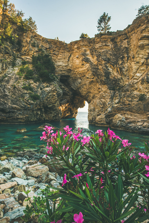 Blooming Rhododendron tree in picturesque sea bay with archway in the rocks near Antiocheia Ad Cragum ancient town ashes in Alanya district, Antalia region,Mediterranean Turkey