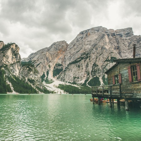 Lago di Braies or Pragser Wildsee in Fanes-Sennes-Braies Nature Park, square crop. Mountain lake with clear emerald waters in Valle di Braies in the Dolomite Alps in North Italy Stock Photo