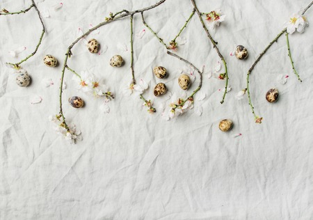 Easter holiday background. Fkat-lay of tender Spring almond blossom flowers on branches and quail eggs over light grey linen cloth, top view, copy space. Greeting card concept