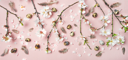 Easter holiday background. Flat-lay of tender Spring almond blossom flowers on branches, feathers, quail eggs over light pink background, top view. Greeting card concept