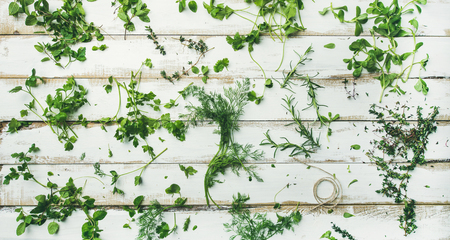 Flat-lay of various fresh green herbs. Parsley, mint, dill, cilantro, rosemary, thyme over rustic white wooden background, top view, wide composition. Healthy vegan cooking concept