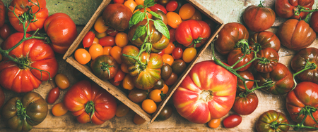 Flat-lay of fresh colorful ripe Fall or Summer heirloom, bunch and cherry tomatoes veriety over rustic wooden background, top view. Local market seasonal produce
