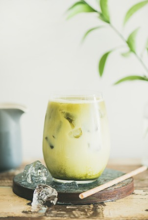 Iced matcha latte drink in glass, white wall and plant branches at background, copy space, close-up. Summer refreshing beverage cold drink