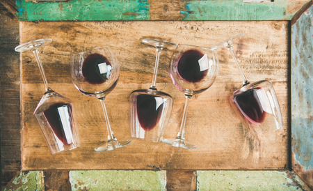 Flat-lay of red wine in glasses