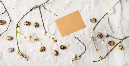 Easter holiday Spring mood flat-lay with blooming branches of almond tree with white flowers