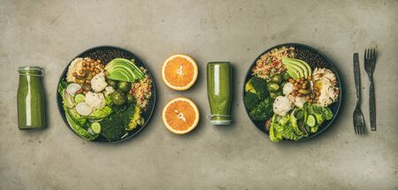 Healthy dinner, lunch setting. Flat-lay of vegan superbowls Stock Photo