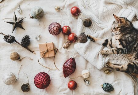 Christmas, New Year holiday background, texture, wallpaper. Flat-lay of Christmas festive decoration toys and home tiger cat playing with golden toy on woolen sweater over beige linen cloth, top view