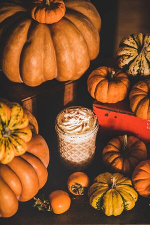 Pumpkin spice latte coffee drink topped with whipped cream in glass among fresh pumpkins and persimmons. Seasonal Autumn hot warming sweet drink