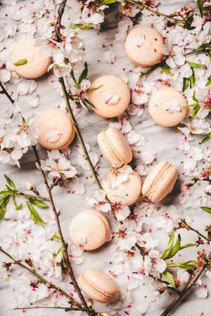Food texture, wallpaper and background. Flat-lay of sweet macaron cookies and spring blossom flowers and branches over white marble background, top view