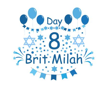 Brit Milah Jewish tradition. Holiday. Judaism. Greeting cards for a boy. vector illustration. Ilustração