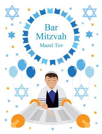 Bar Mitzvah greeting or invitation card with Jewish boy and star of David isolated on white background. vector illustration. Çizim
