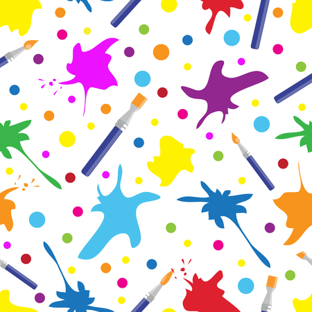 Seamless colorful pattern with brushes and paint splashes. creativity background, vector illustration. Иллюстрация