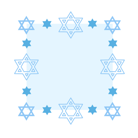 Rectangular frame with the Jewish David Stars. Design element for postcards with copy space