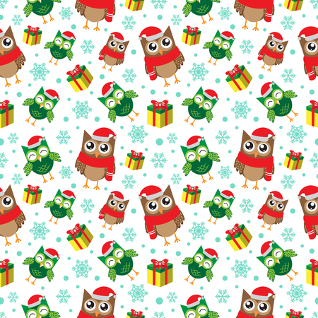 Winter seamless pattern with snowflakes, owls and gifts. Happy new year and merry christmas background. vector illustration. Illustration