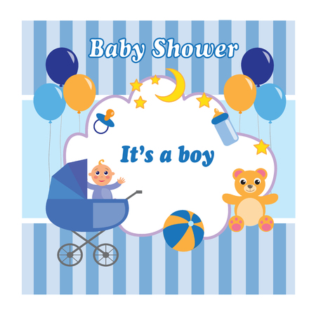 Baby shower boy card with a bear, a stroller, a toy and balloons. Vector illustration.