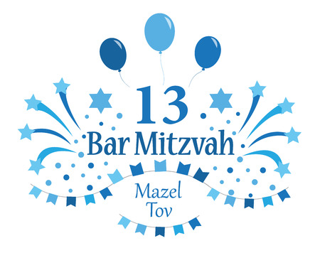 Bar Mitzvah invitation or congratulation card. Vector illustration.