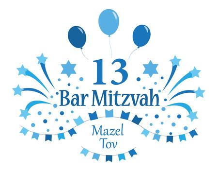 Tarjeta de invitación o felicitación de Bar Mitzvah. Ilustración de vector. Ilustración de vector