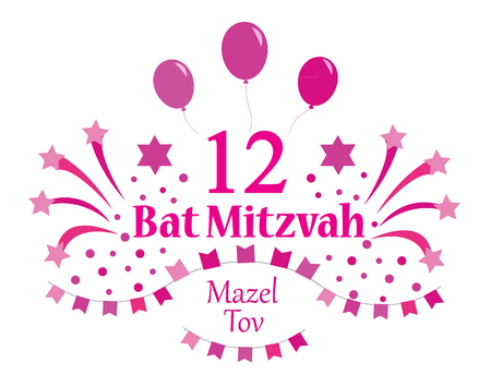 Bat Mitzvah invitation or congratulation card. Vector illustration.