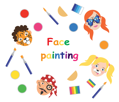 Face painting for kids poster, collection. Vector illustration. eps10.