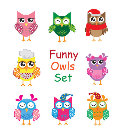 Funny cute different cartoon owls collection. vector illustration.