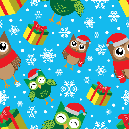 Winter seamless pattern with snowflakes, owls and gifts. Happy new year and merry christmas vector illustration.