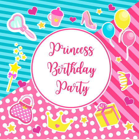 Happy birthday set greeting or invitation cards for a little princess in lol doll surprise style.