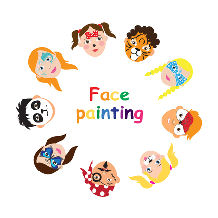 Face painting for kids collection. set of icons in cartoon flat style for banner, poster. children's holiday background. Vector illustration.